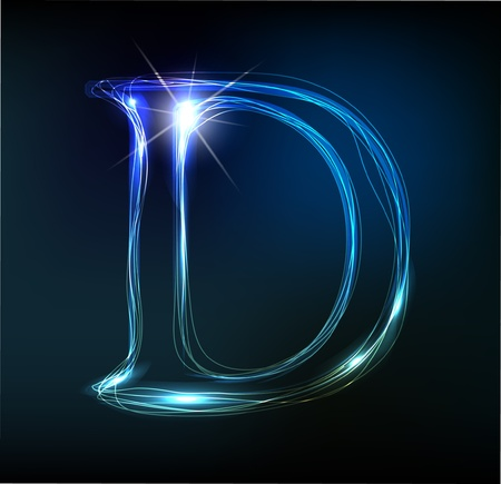 Glowing neon font. Shiny letter Stock Vector - 11837683