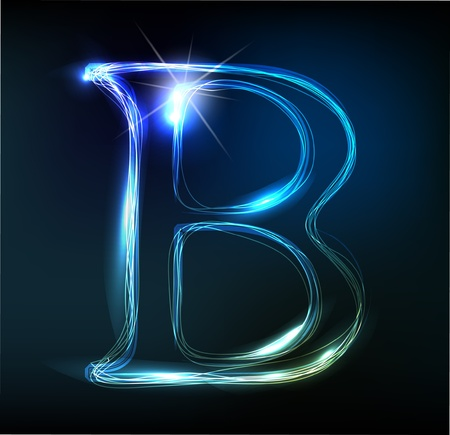 Glowing neon font. Shiny letter Stock Vector - 11837702
