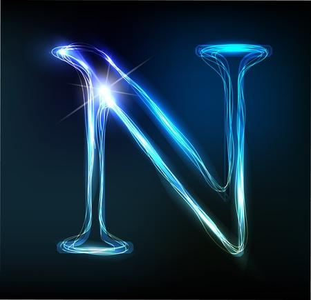 輝くネオンのフォントです。光沢のある手紙