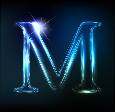 czcionki: Glowing font neon. Shiny letter