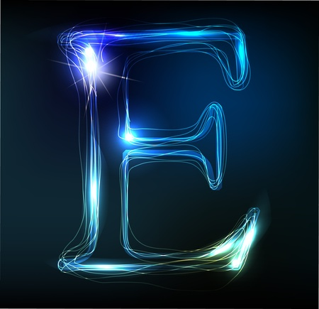 Glowing neon font. Shiny letter Stock Vector - 11837714