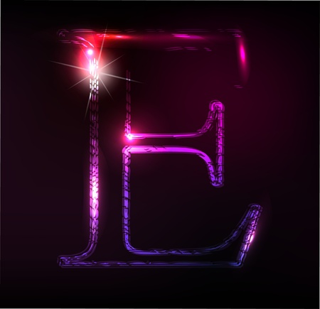 effect: Glowing neon font. Shiny letter