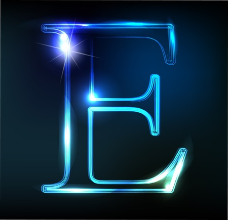 neon sign: Glowing neon font. Shiny letter