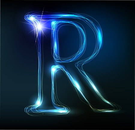 glow: Glowing neon font. Shiny letter
