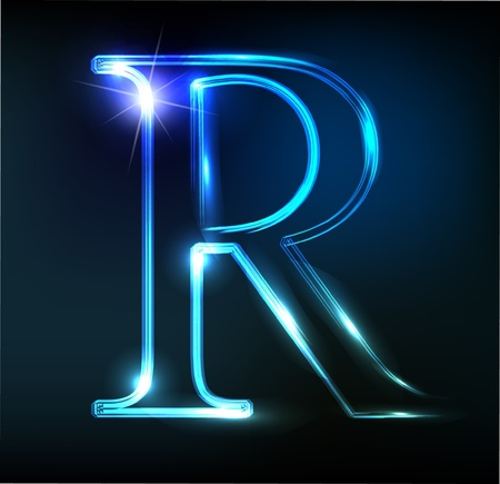 to write: Glowing neon font. Shiny letter