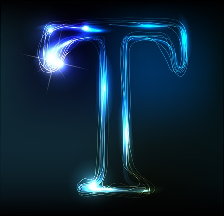 shiny: Glowing neon font. Shiny letter