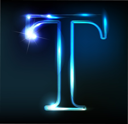 Glowing neon font. Shiny letter