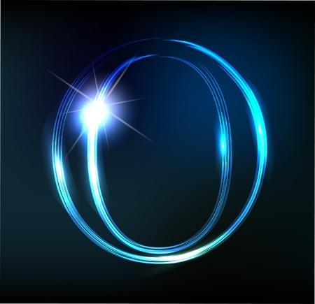 Gloeiende neon lettertype. Glanzende letter Stock Illustratie