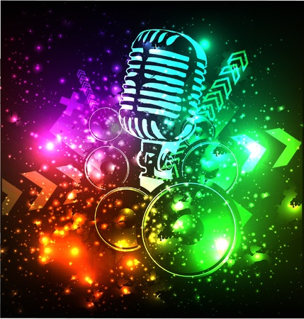 grunge concert poster with microphone Stock Vector - 11837720