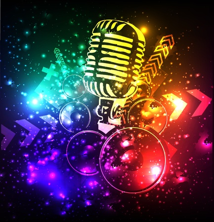 grunge cartel del concierto con el micrófono Ilustración de vector