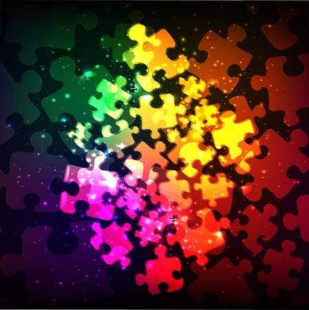 abstract puzzle shape colorful vector design Ilustração