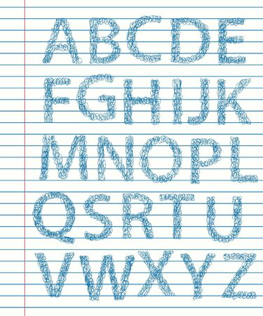 Hand Drawn sketch Alphabet. Letters Vector
