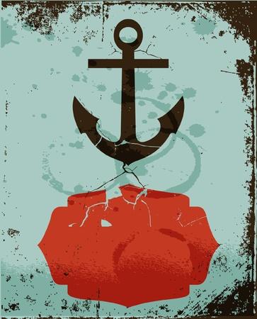 ancre marine: fond d'ancrage coloré rétro