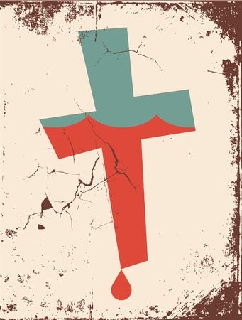 grunge Christian cross background Vector