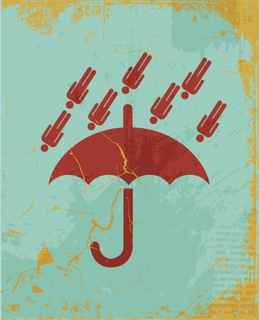 umbrella retro concept background Vector