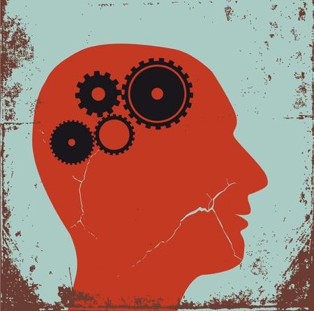 thinking machine: Cabezal de engranajes - vector, s�mbolo del cartel retro