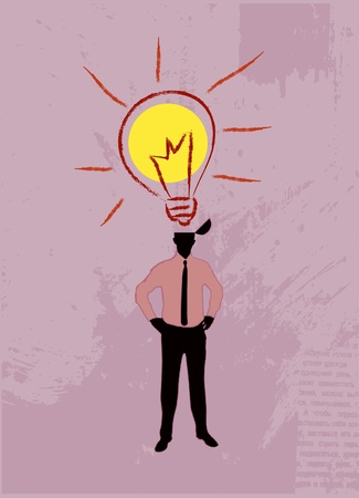 prodigy: Illustration of the idea, open the human head from a flying character idea - a light bulb.