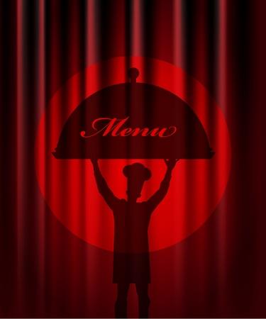 shrimp cocktail: Restaurant menu design. With the silhouette  cook chef Illustration