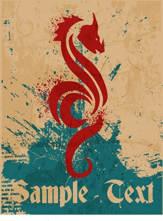 tatouage dragon: Dragon et la texture de fond,