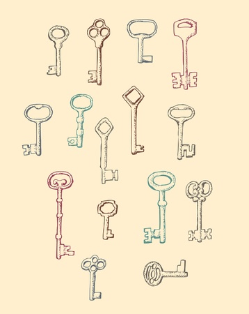 house keys: Set of drawn by hand Antique Keys