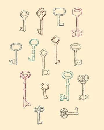 oude sleutel: Set van met de hand getekend Antique Keys