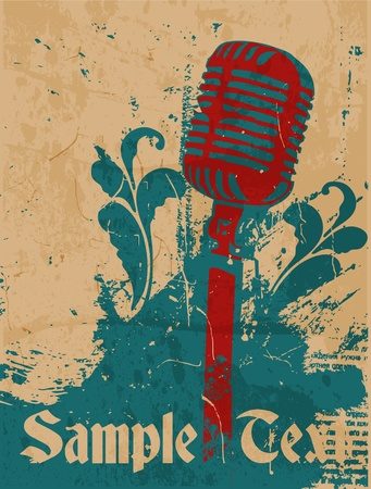 grunge concert poster with microphone Illustration