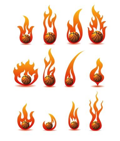 flaming basketballs