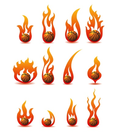 flaming basketballs Vector