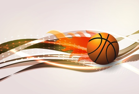 Vector basketball with wave background