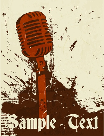 club scene: grunge concert poster with microphone Illustration