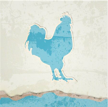 Red rooster retro poster Vector