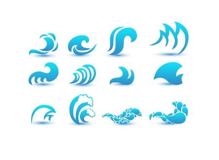 flowing water: Ilustraci�n del vector de la onda azul resumen