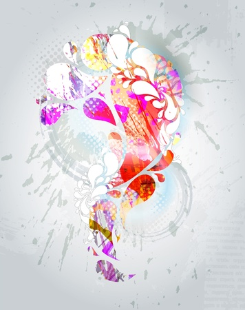 Abstract colorful background. Vector colored swirly background with splats and  floral element
