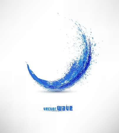 flowing water: Vector illustration of abstract blue wave Illustration