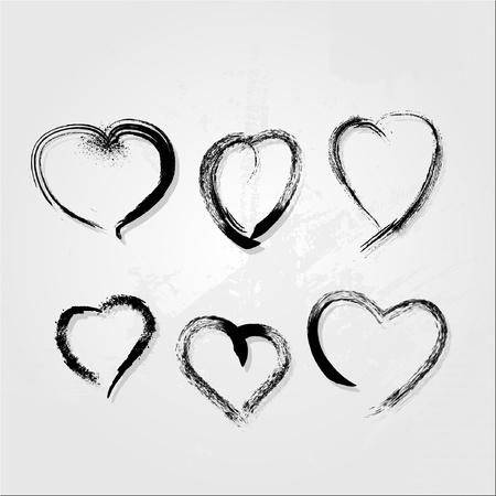 dessin coeur: ensemble de c?urs gribouillis Illustration