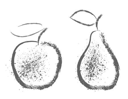 梨: リンゴと梨のパターン  イラスト・ベクター素材