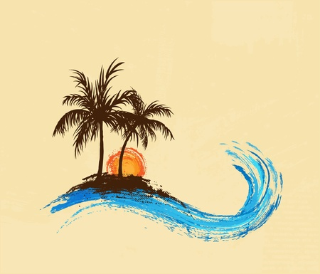 island beach: Palm trees