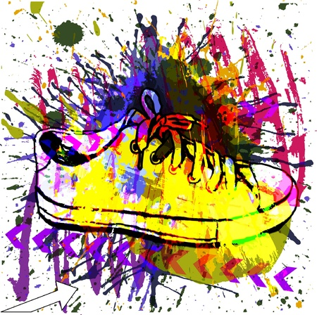 super market: Stylish Sneakers. On grunge background