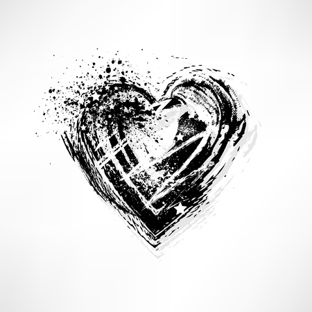 grunge heart: Painted brush heart shape