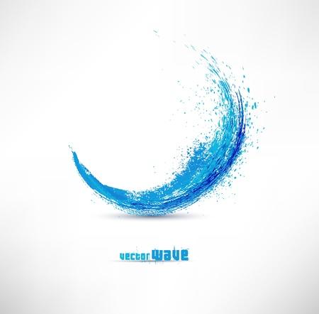gradient: Vektorové ilustrace abstraktní modré vlny Ilustrace