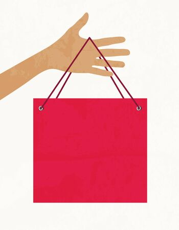 Hand with shopping bag. Vector