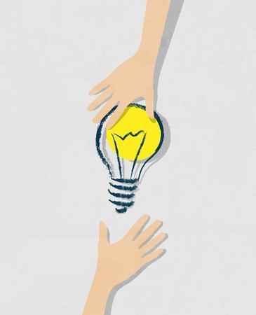Prodigy: ilustracja z żarówką idei. Przeniesienie pomysłów z ręki do ręki.