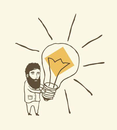 bearded man thinking with light bulb Stock Vector - 11659809