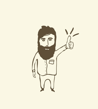 bearded  man showing thumb up Vector