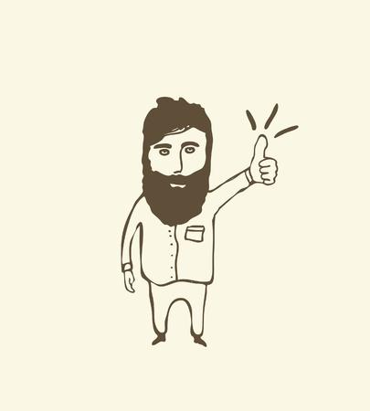 hombre barba: hombre barbudo que muestra el pulgar hacia arriba