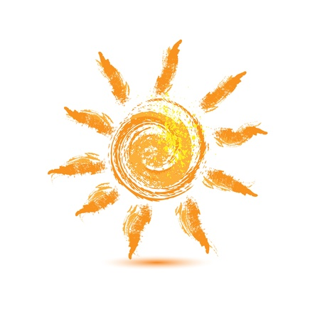 isolated: hand drawn sun