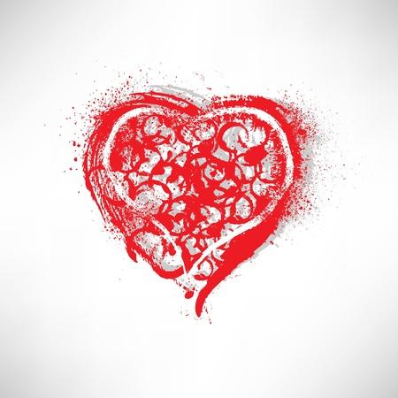 doodle art clipart: Painted brush heart shape