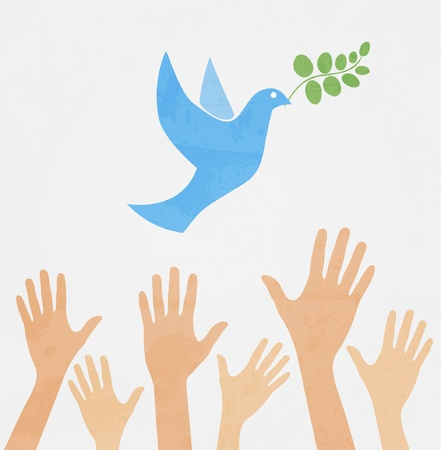 hands in the air: hands releasing white dove of peace.