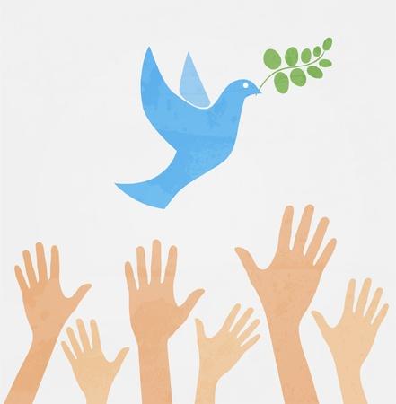 paz mundial: manos liberando paloma blanca de la paz.