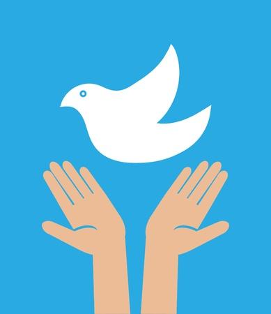 illustration of the dove in hand Vettoriali